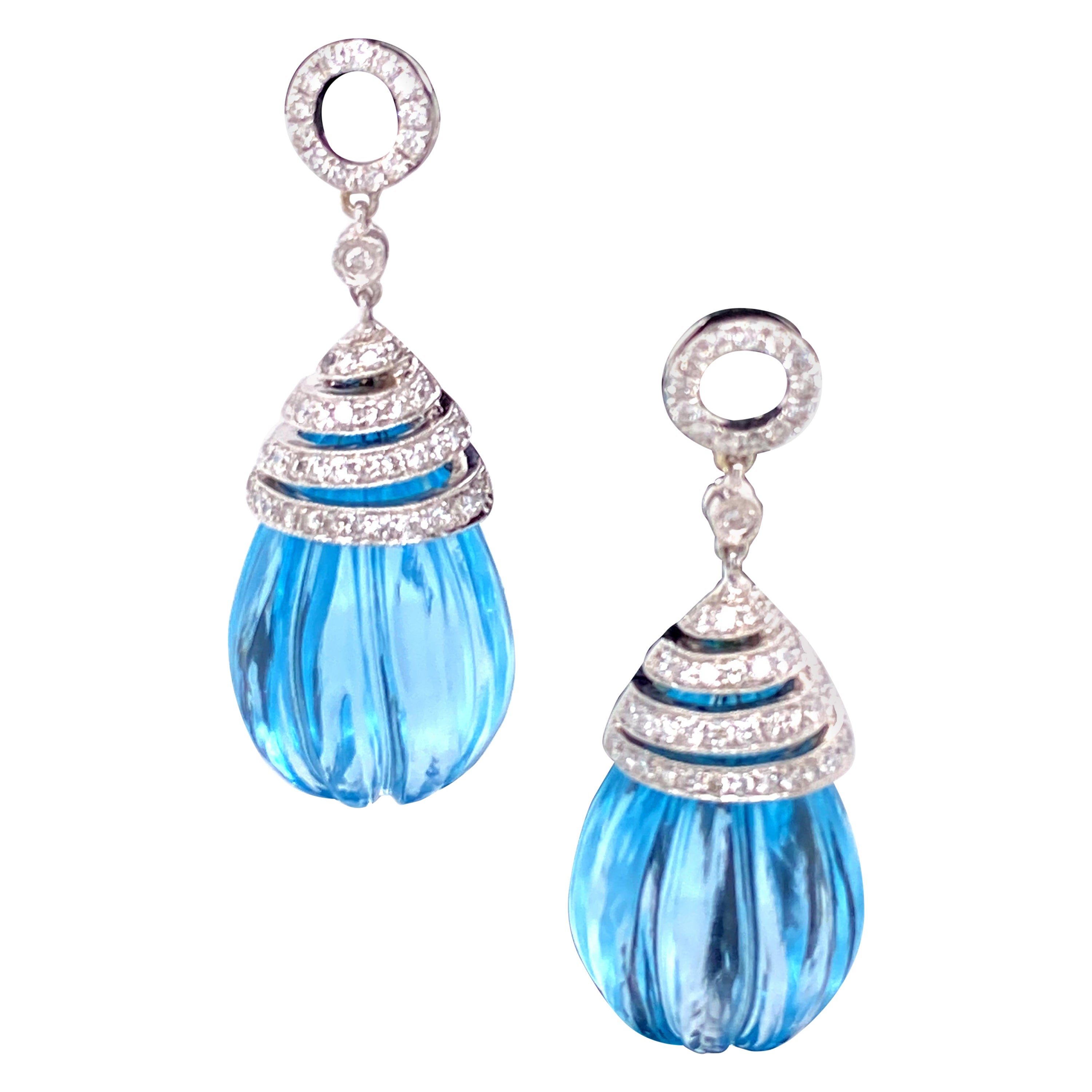57.82 Carat Carved Blue Topaz Drops and White Diamond Gold Earrings