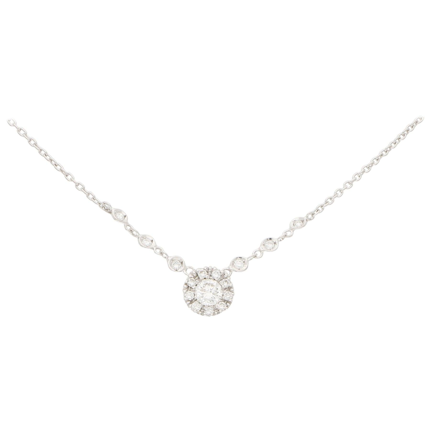 Diamond Halo Cluster Pendant in 18 Karat White Gold