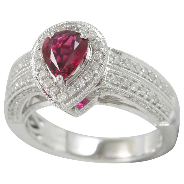 Suzy Levian 14 Karat White Gold Pear-Cut Ruby and Diamond Ring