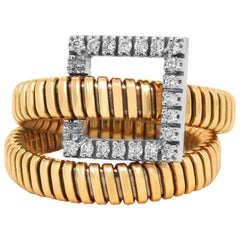 K Di Kuore Yellow White Gold and Diamond Wrap Around Ring