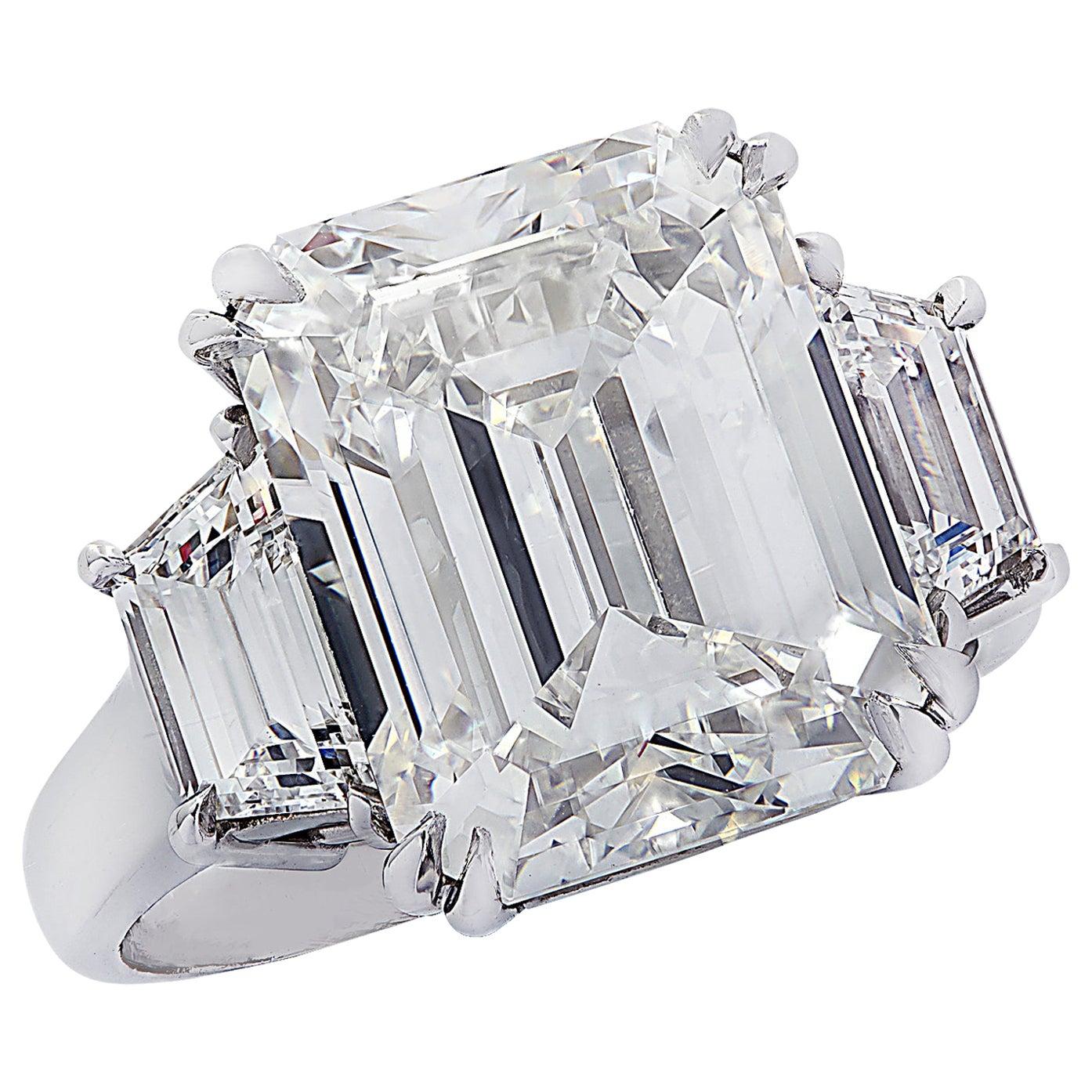 Vivid Diamonds GIA Certified 8.57 Carat Emerald Cut Diamond Engagement Ring