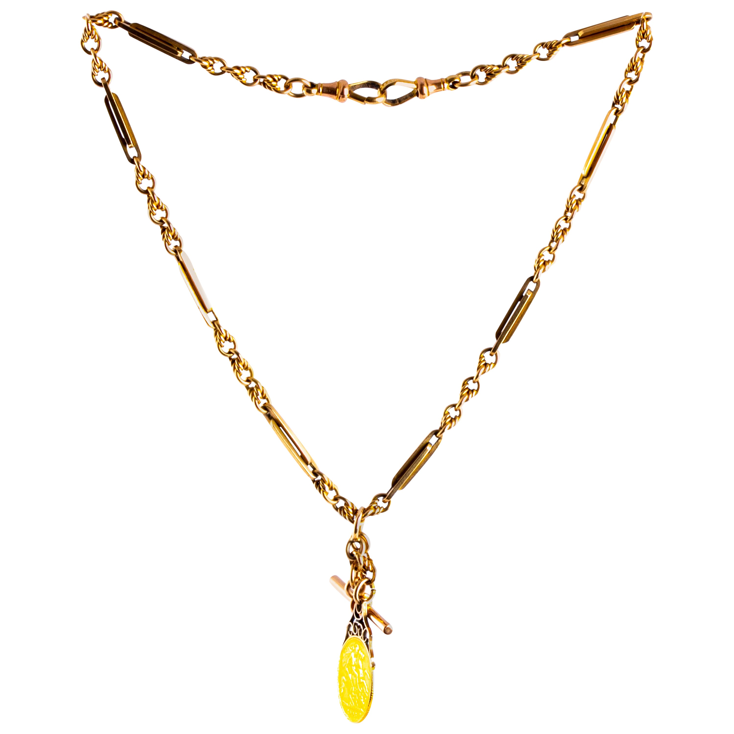 Edwardian 9 Carat Gold Albert or Necklace Chain with T-Bar and Sovereign