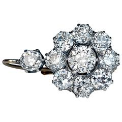 Antique Russian Diamond Gold Cluster Earrings