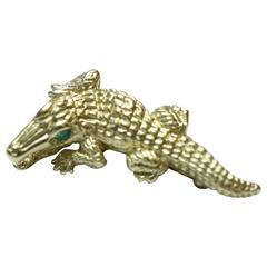 Emerald Gold Alligator Brooch
