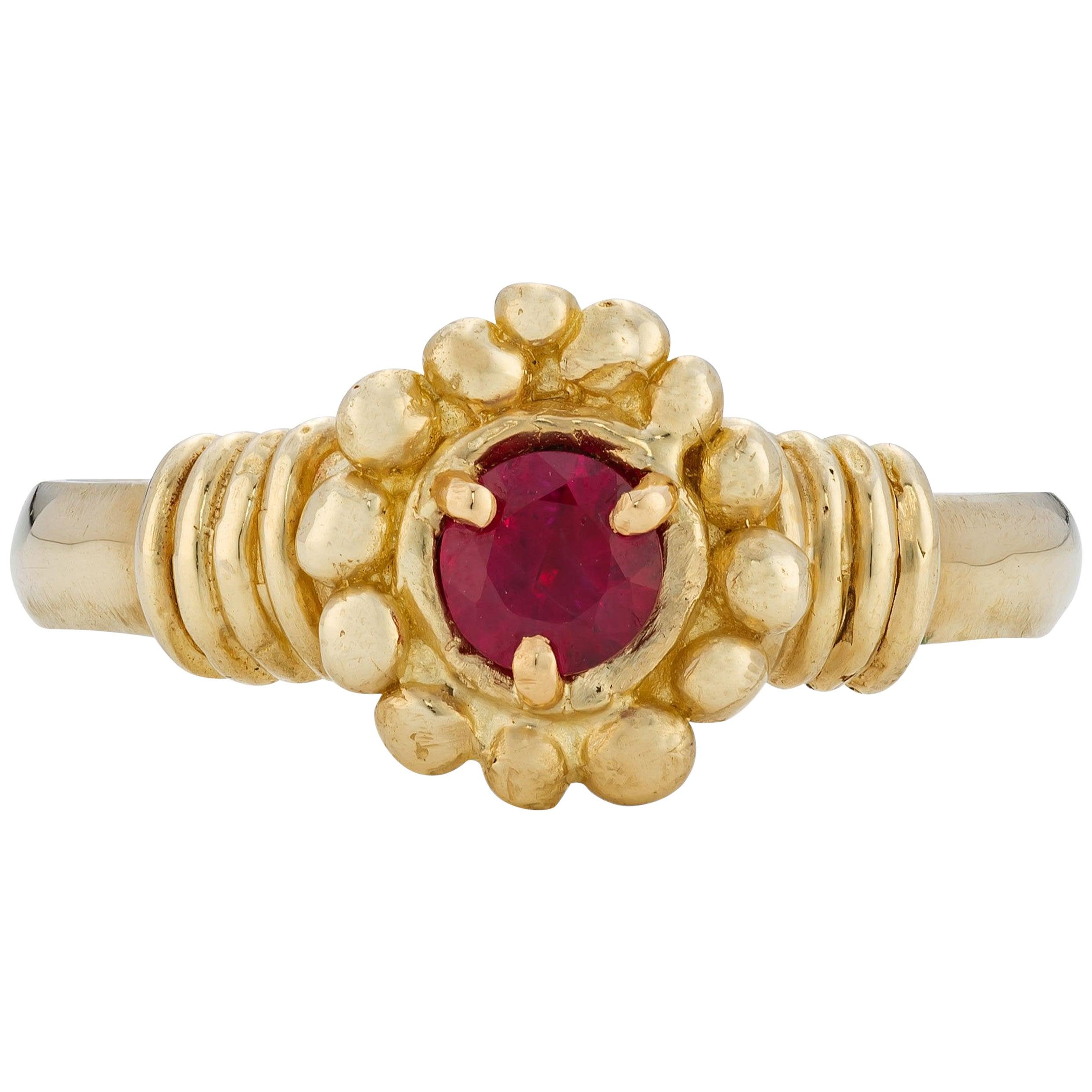 Kalimeris Ring, 18 Karat Yellow Gold with Ruby