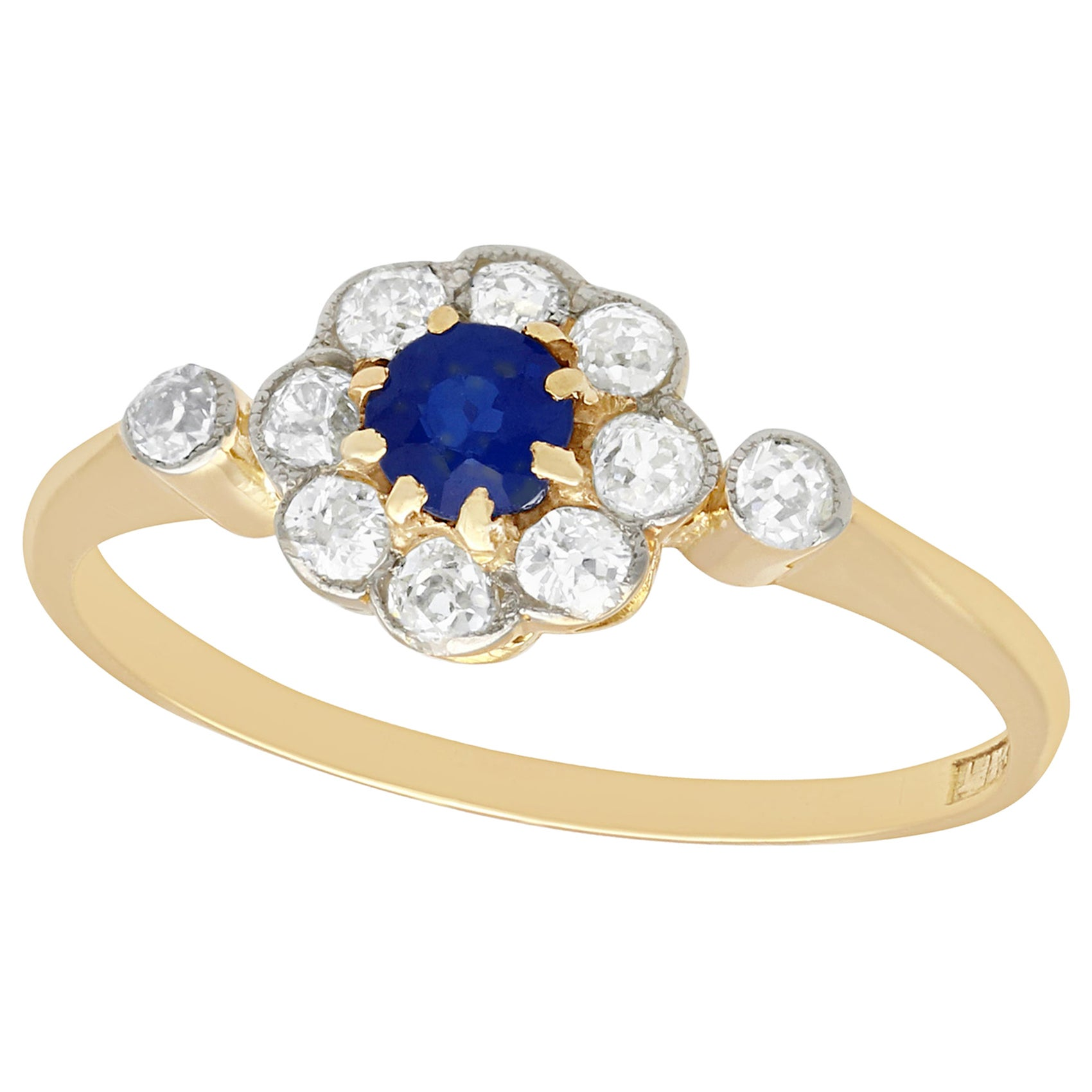Antique 1920s Sapphire and Diamond Yellow Gold Cocktail Ring