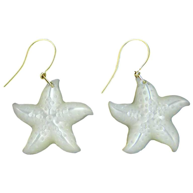 Mother-of-Pearl Gold Starfish Dangle Earrings