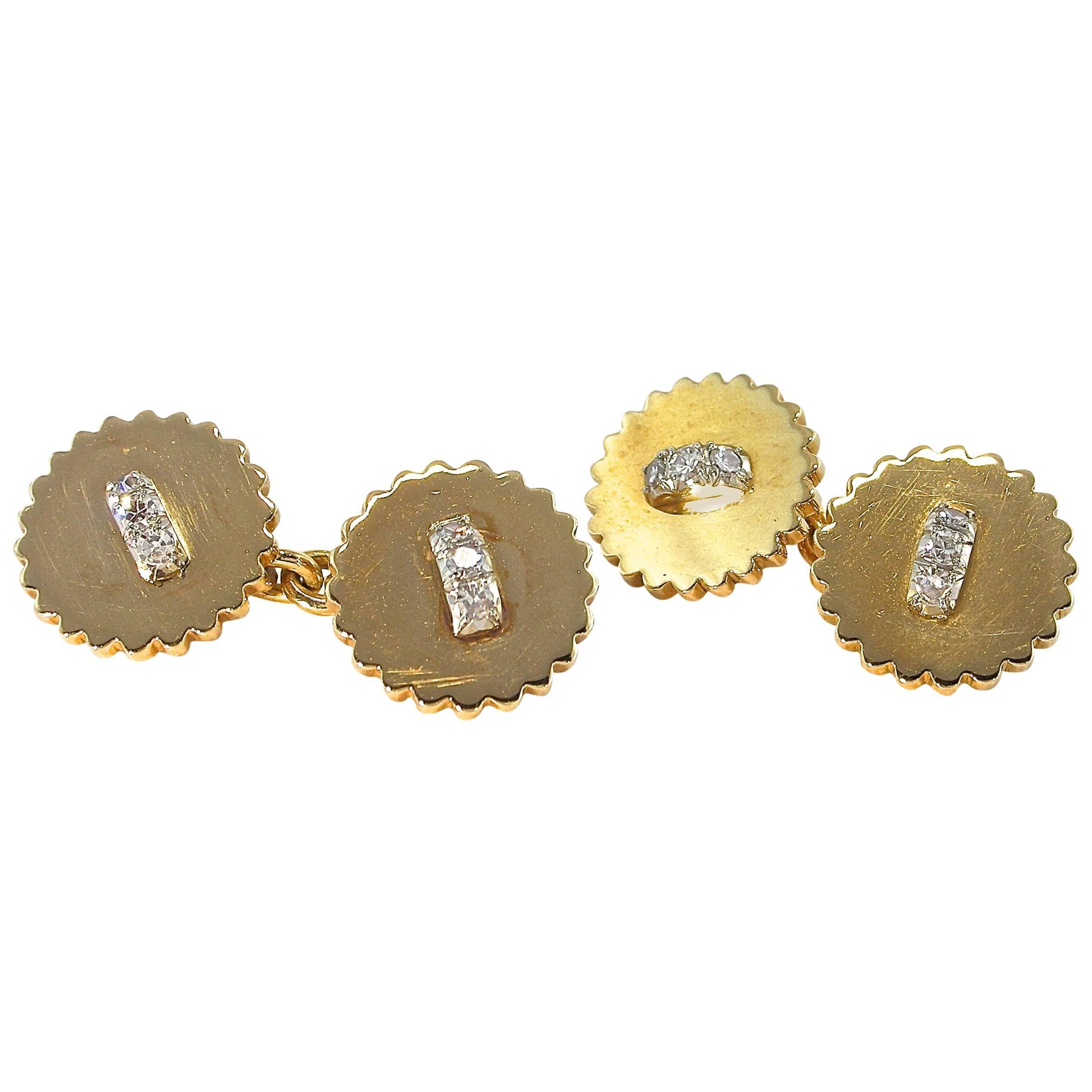 Jona White Diamond 18 Karat Yellow Gold  Cufflinks