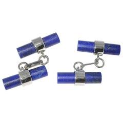 Jona 18 Karat White Gold Lapis Lazuli Cylinder Cufflinks