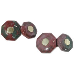 Jona Red and Green Jasper 18 Karat Yellow Gold Geometric Cufflinks