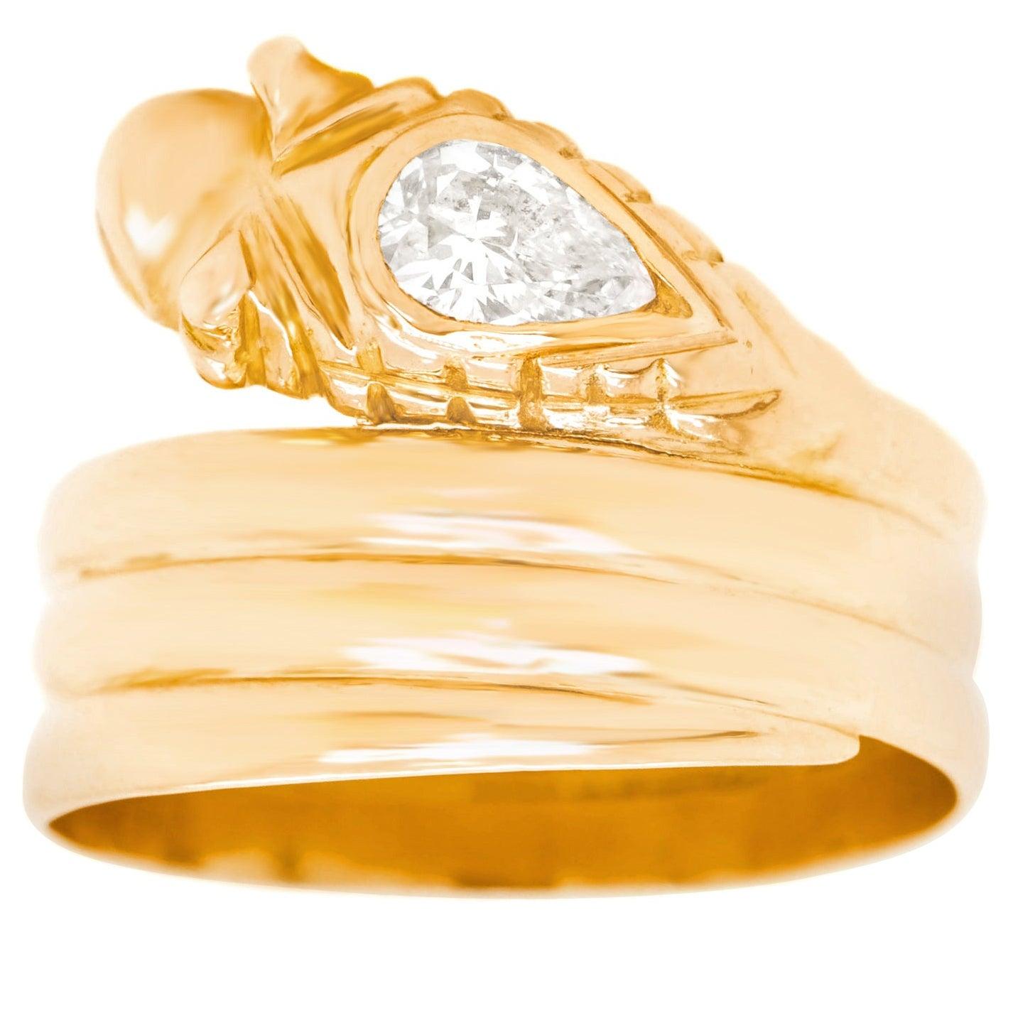 French Art Deco Diamond Set Snake Ring