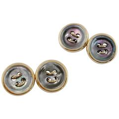 Jona Mother-of-Pearl 9 karat Rose Gold Button Cufflinks