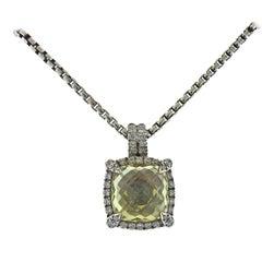 David Yurman Chatelaine Sterling Citrine Diamond Pendant Necklace