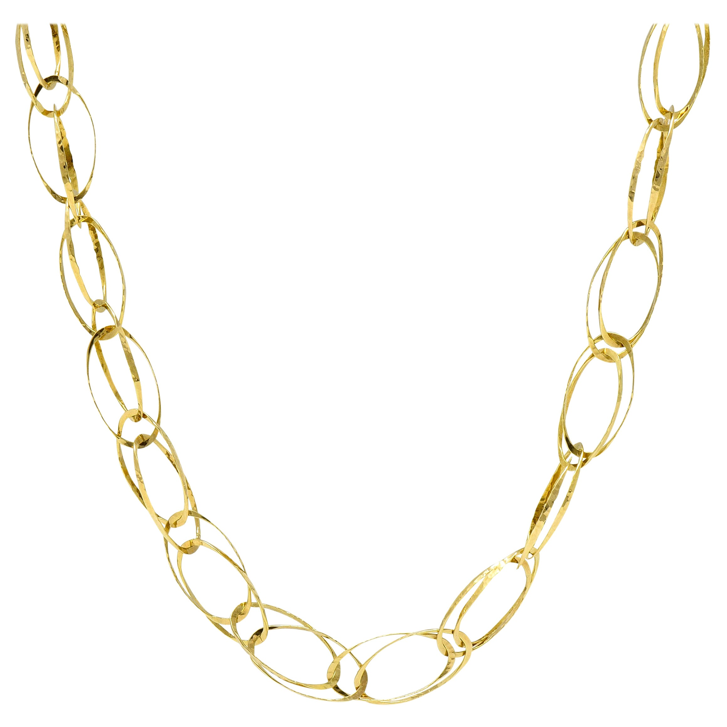 Contemporary 18 Karat Gold Yellow Hammered Link Necklace