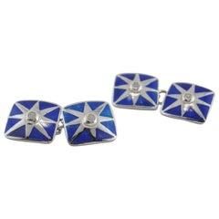 Jona Enamel White Diamond 18 Karat White Gold Cufflinks