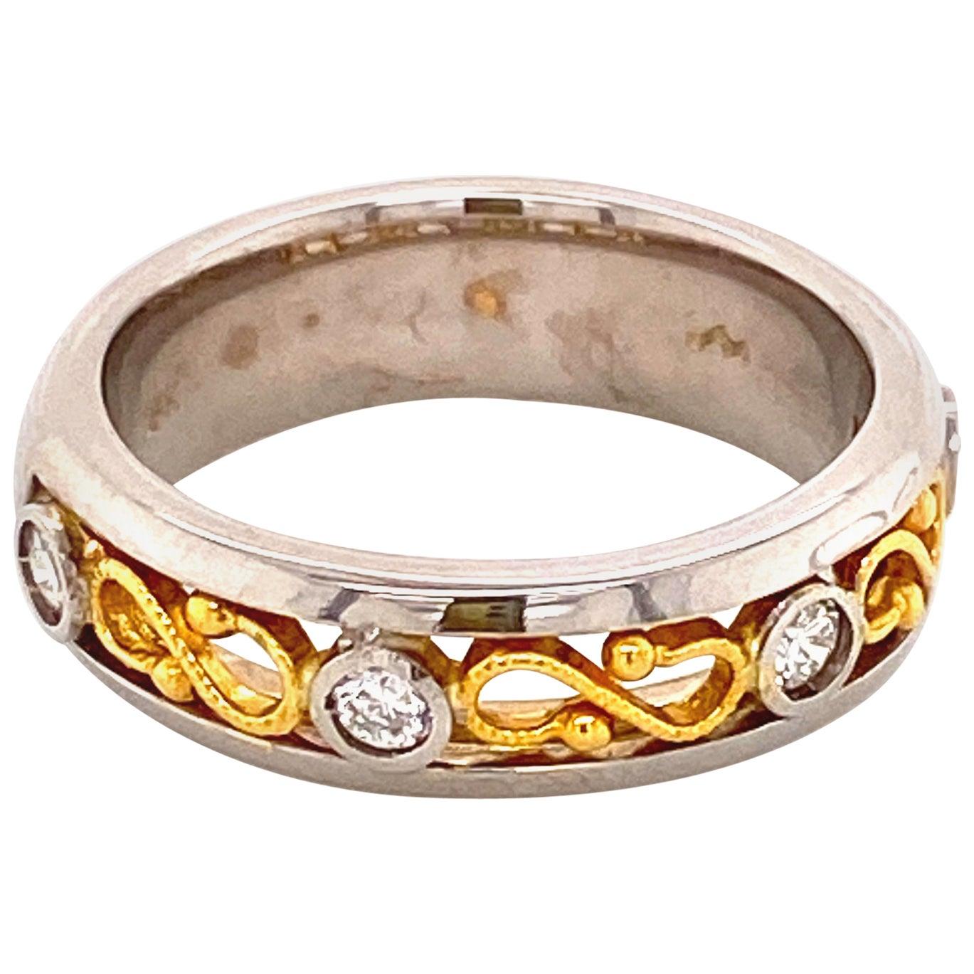White Diamond and 18/22 Karat Gold Engagement Ring