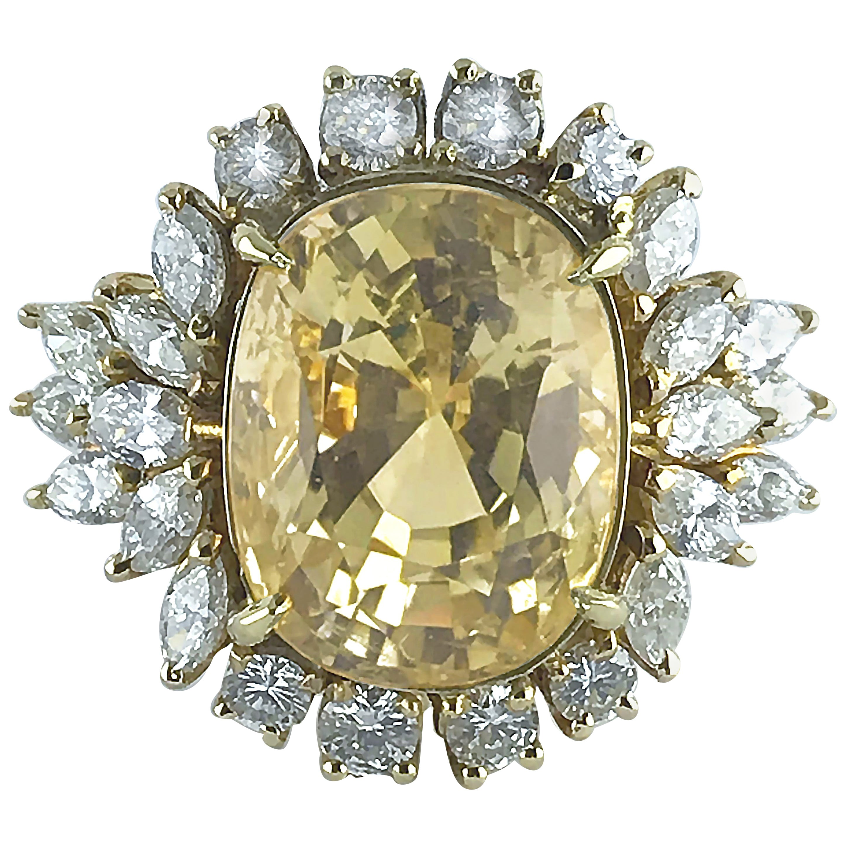 Certified Natural 16.39 Carat Cushion Cut Yellow Sapphire and Diamond Ring