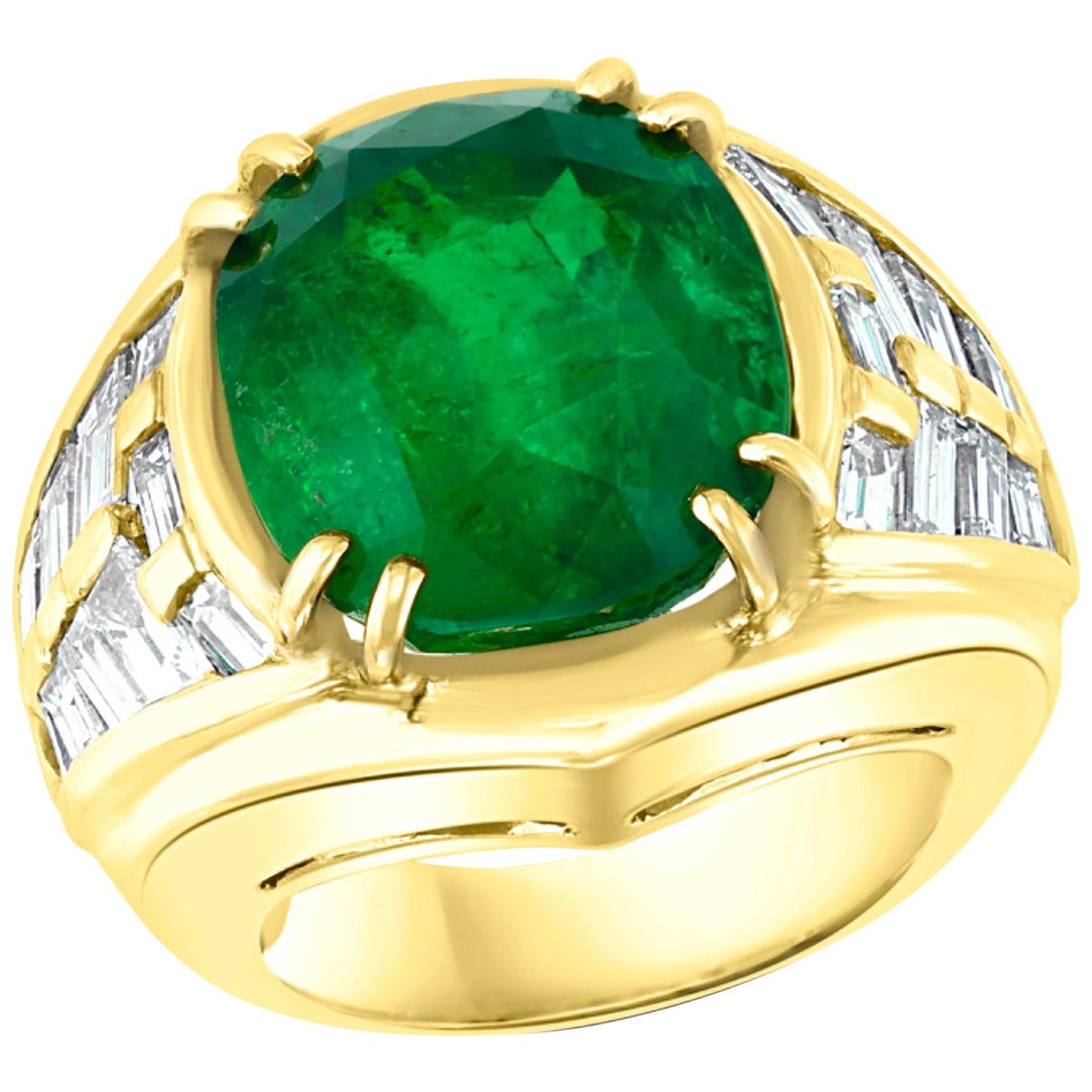 AGL Certified Minor Traditional 15Ct Colombian Emerald & Diamond Ring 18K Unisex