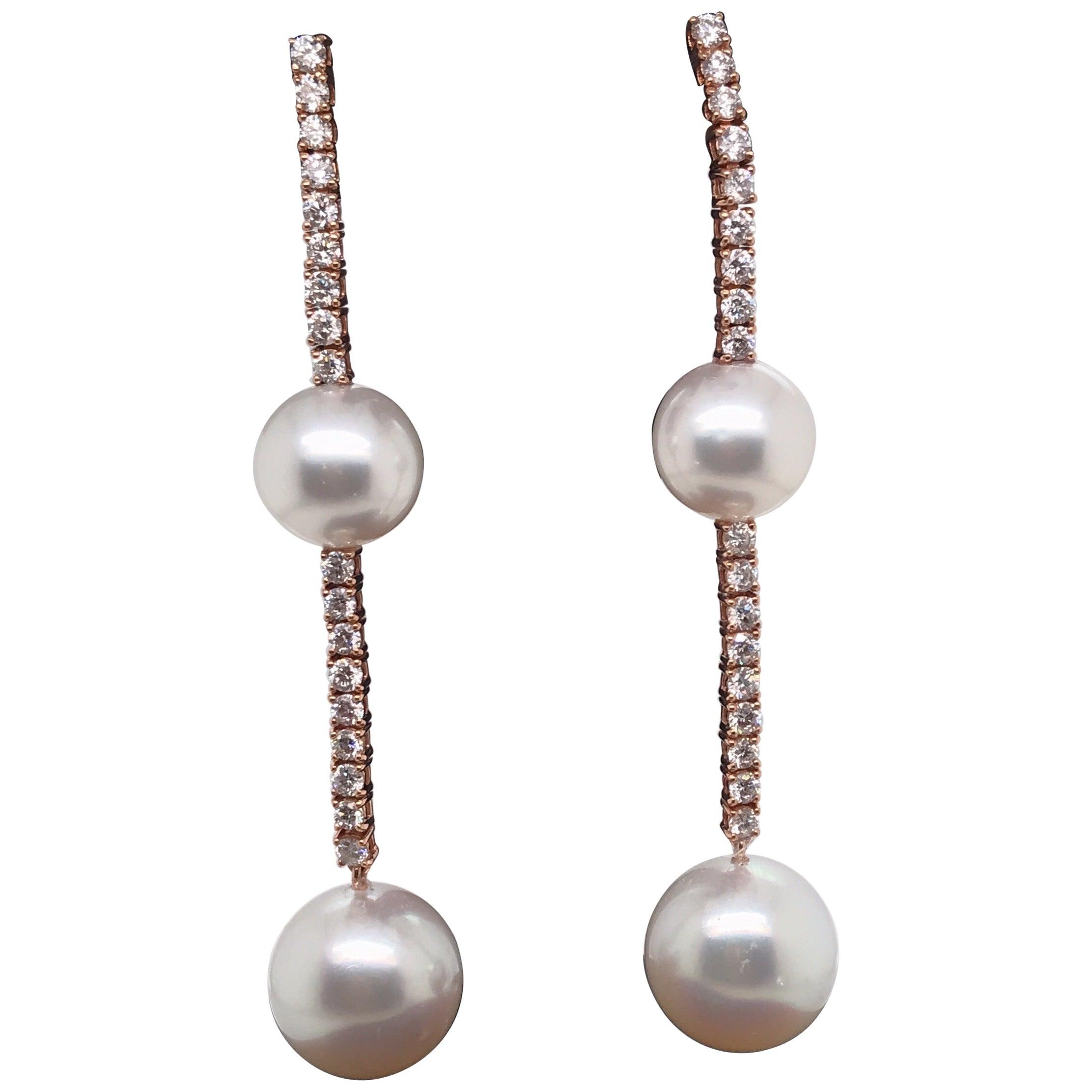 South Sea Pearl Diamond Drop Earrings 1.81 Carat 18 Karat Rose Gold