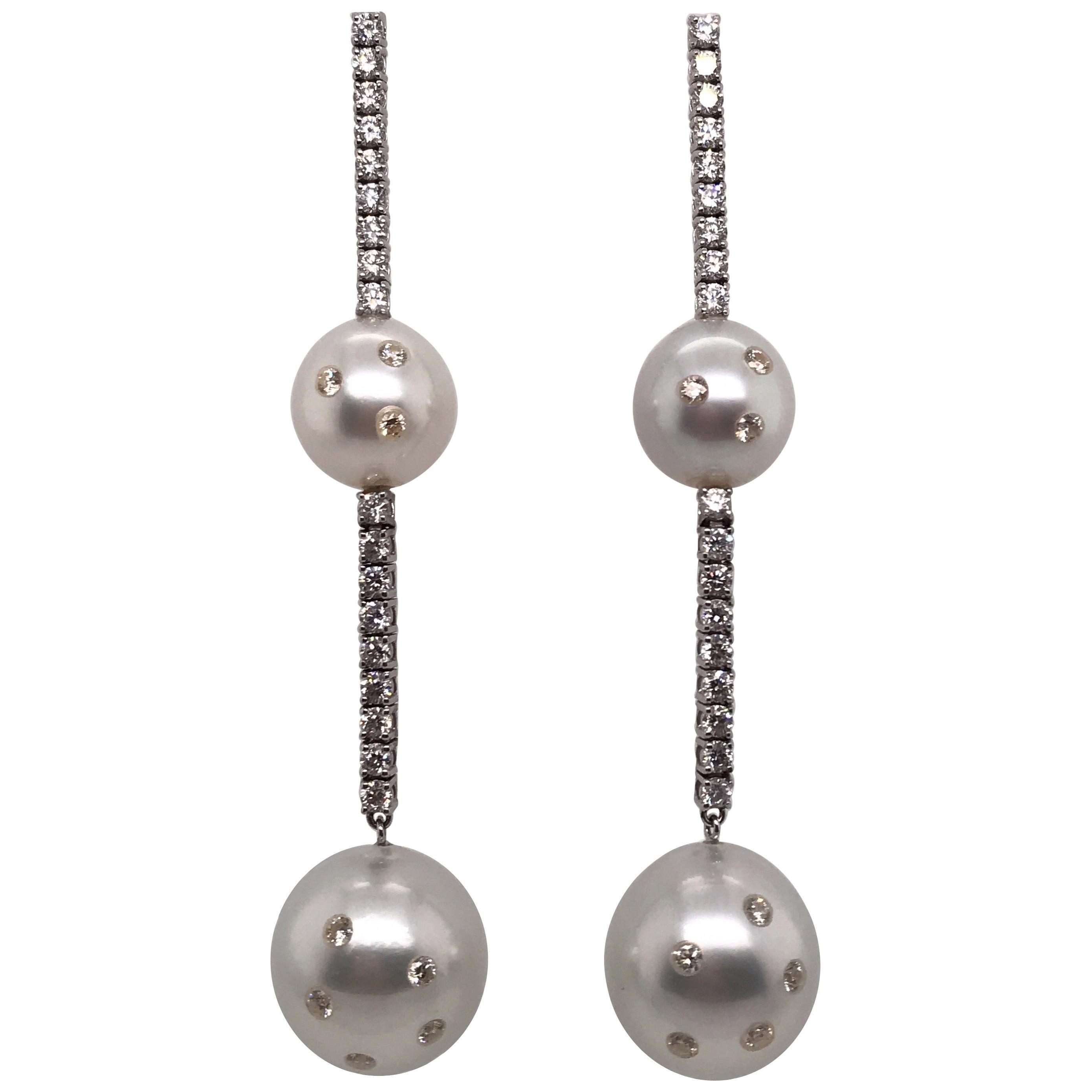 South Sea Pearl Diamond Drop Earrings 2.30 Carat 14 Karat White Gold