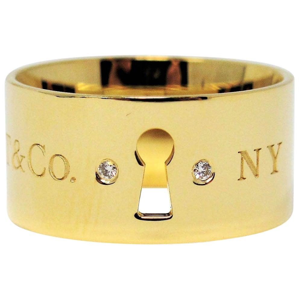 Tiffany & Co. Keyhole 18 Karat Yellow Gold Wide Band Ring with Diamonds