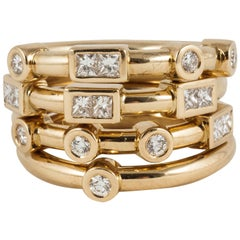 18 Carat Yellow Gold and White Diamond Love Stacking Rings by Code by Edge