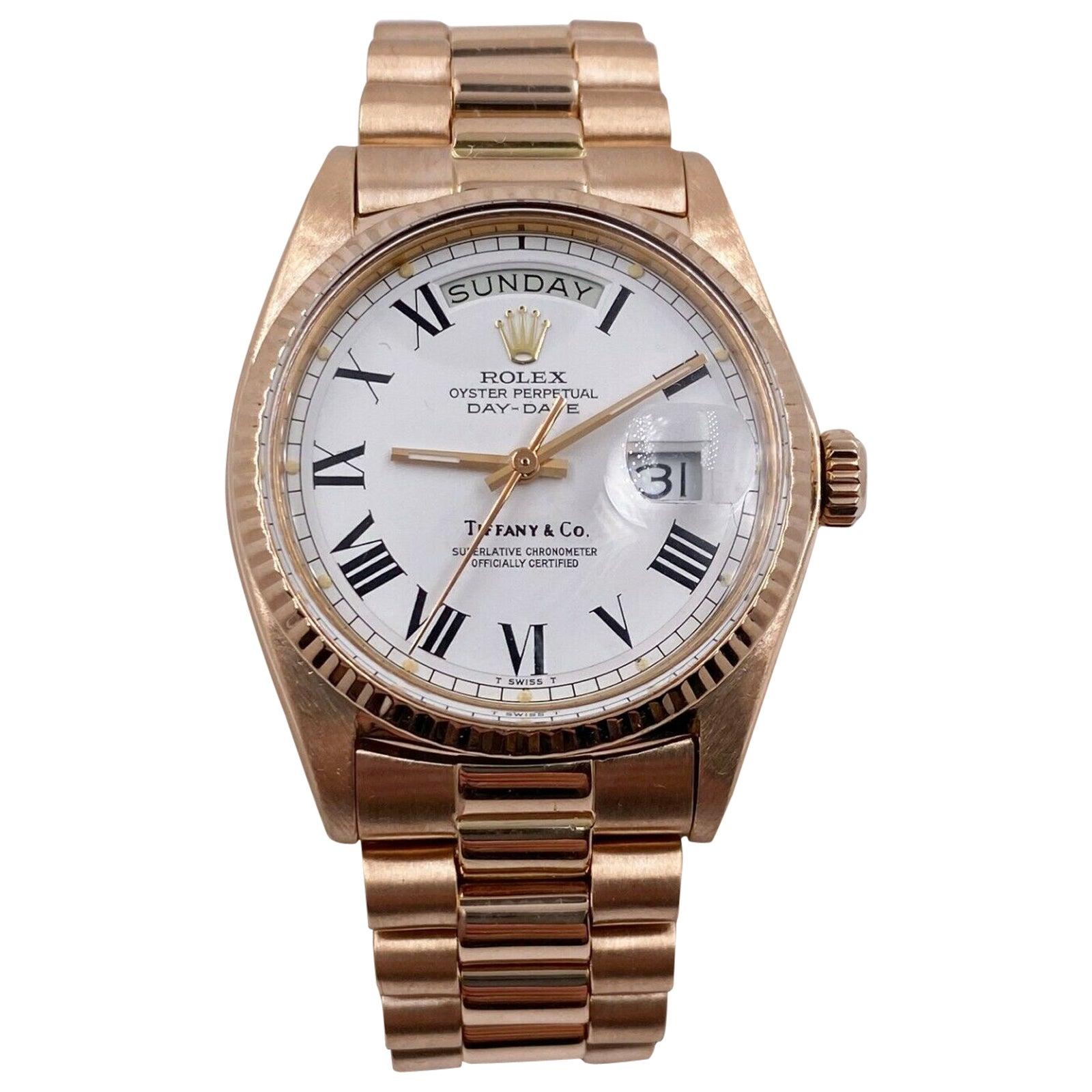 Vintage Rolex Day Date President 1803 Tiffany & Co. Dial 18 Karat Rose Gold