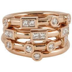 Rose Gold White Diamond Stack Band Ring