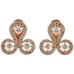 Rose Gold Brown Diamond Round Stud Earrings