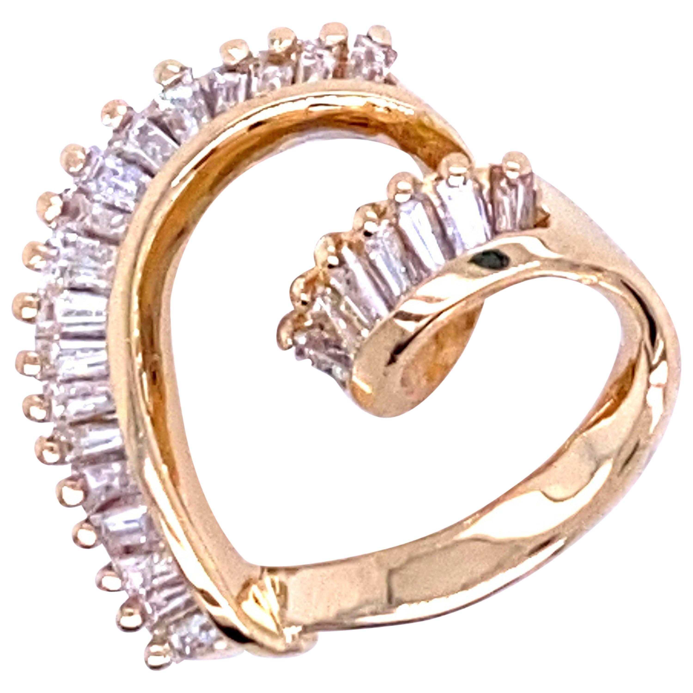 14 Karat Yellow Gold and Diamond Heart Shaped Pendant