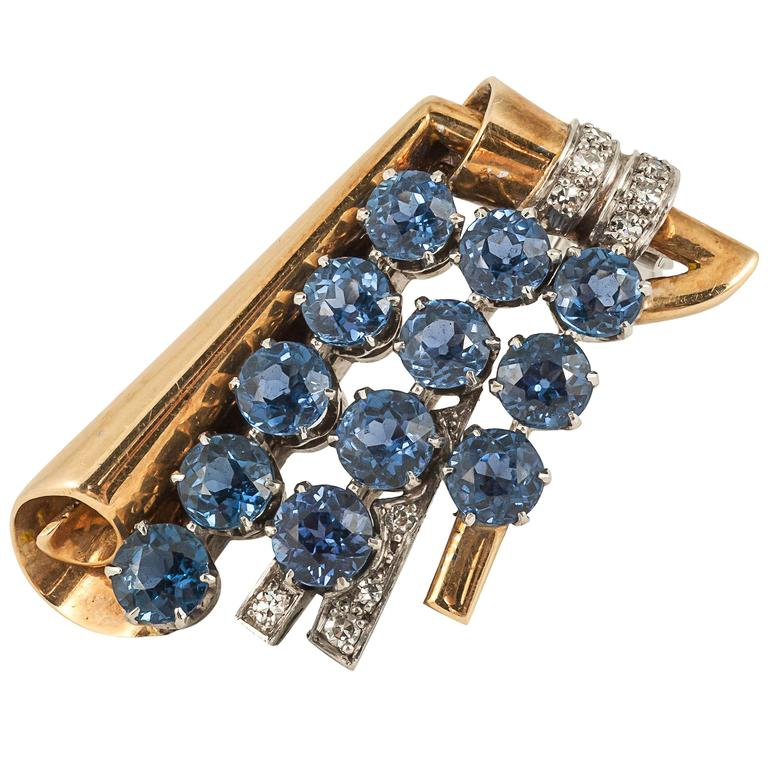1940s English sapphire diamond gold clip brooch