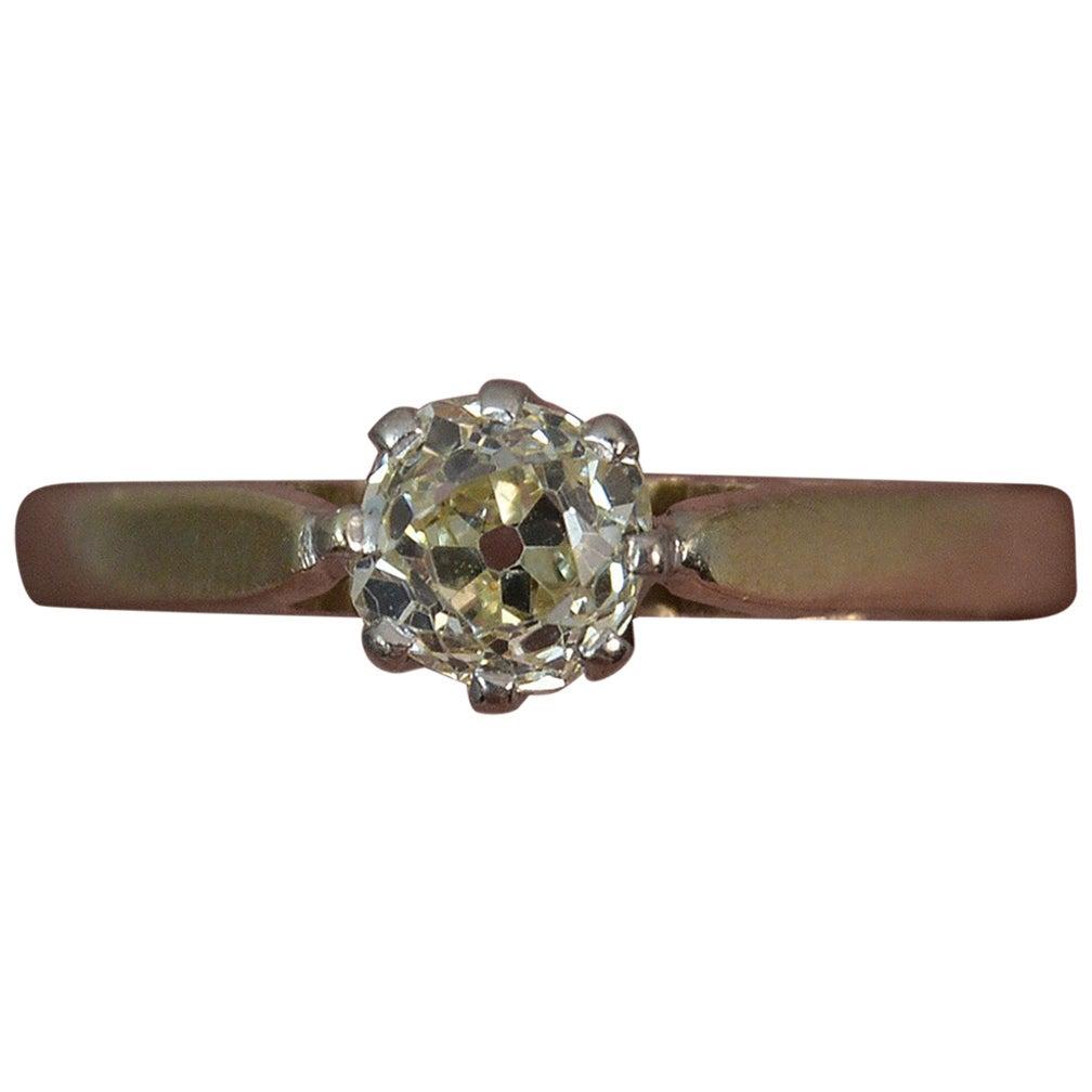0.5 Carat Old Cut Diamond 9 Carat Gold Solitaire Engagement Ring