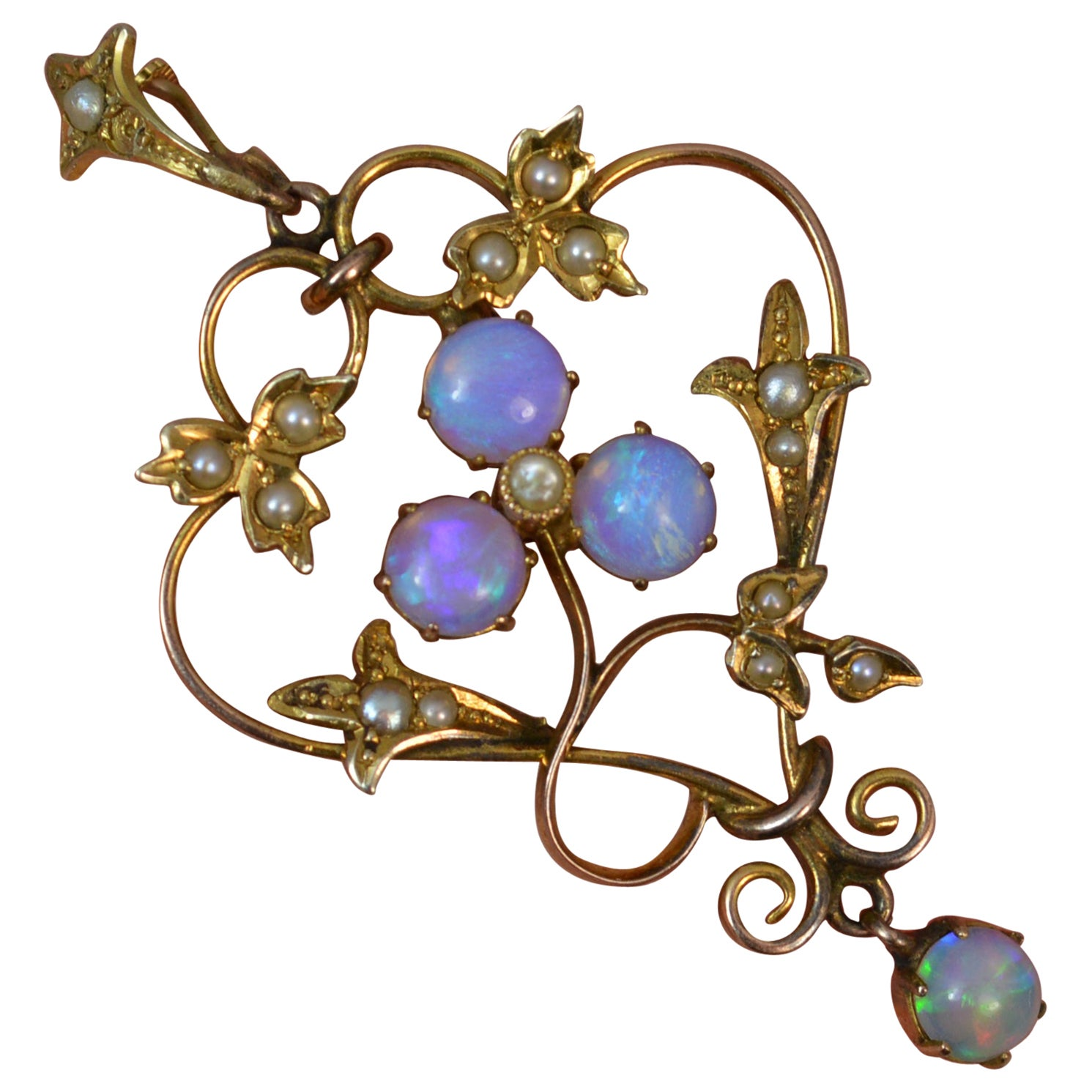 Victorian Gold Colorful Opal and Seed Pearl Pendant
