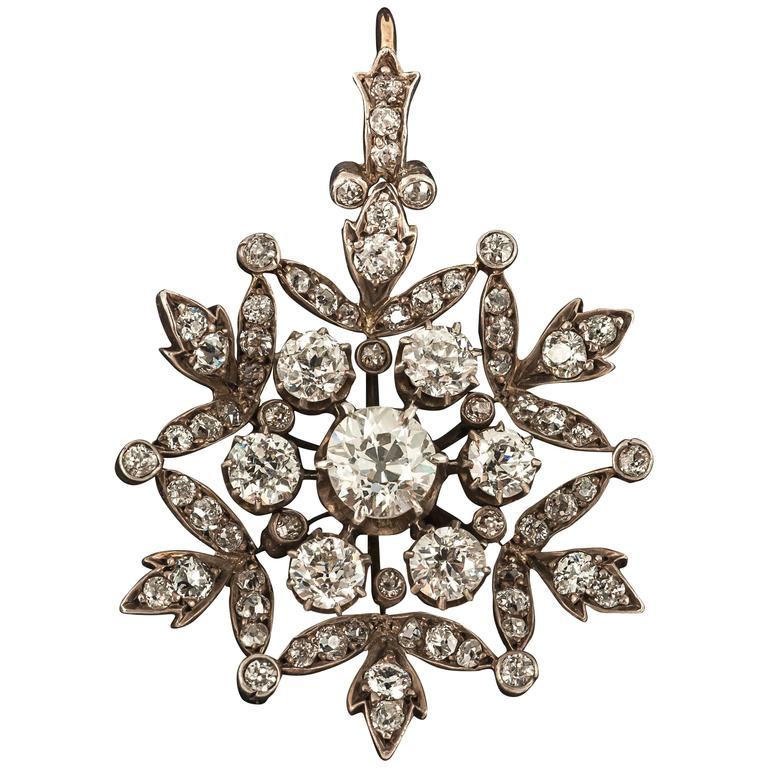 19th century diamond snowflake brooch pendant