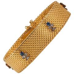 French Sapphire Diamond Gold Link Bracelet