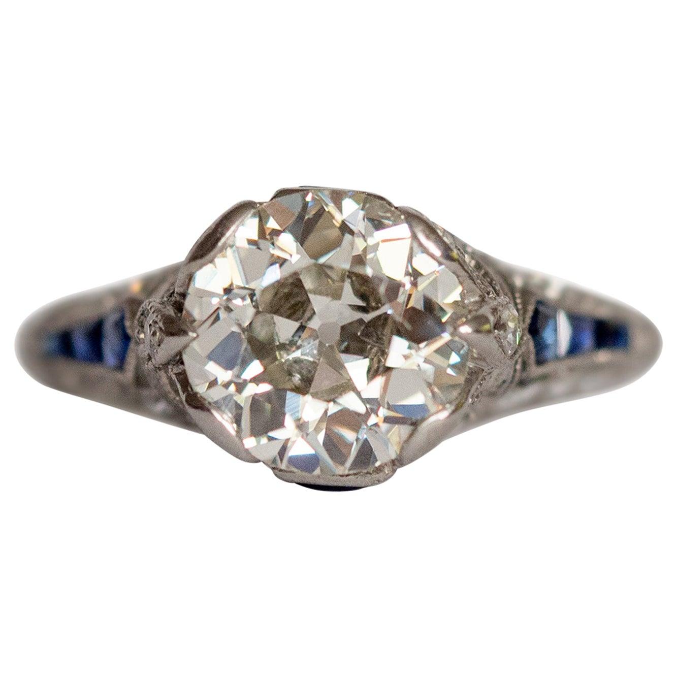 GIA Certified 2.05 Carat Diamond Platinum Engagement Ring