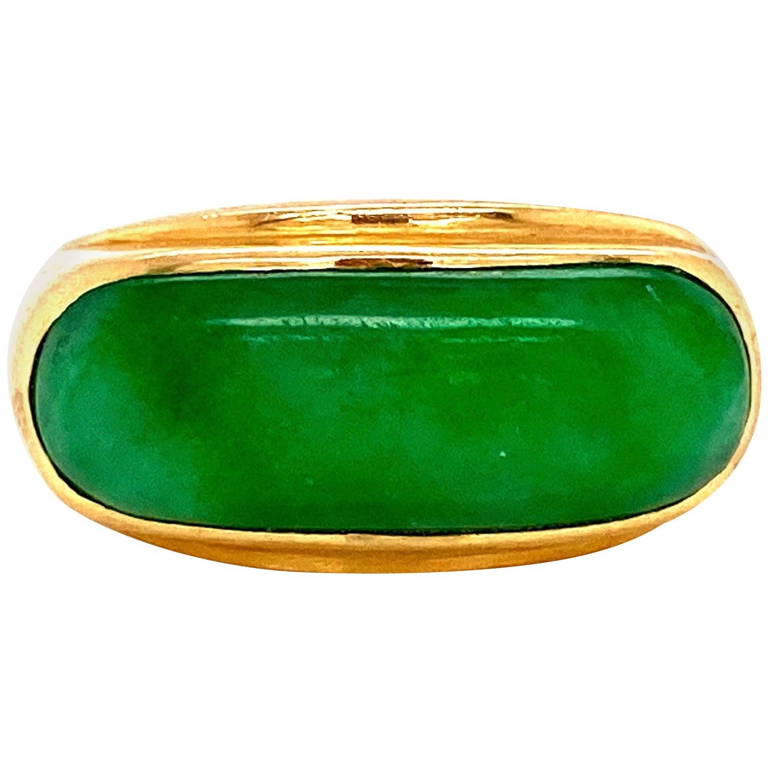 Fine Green Jade 18 Karat Gold Bar Ring Estate Fine Jewelry