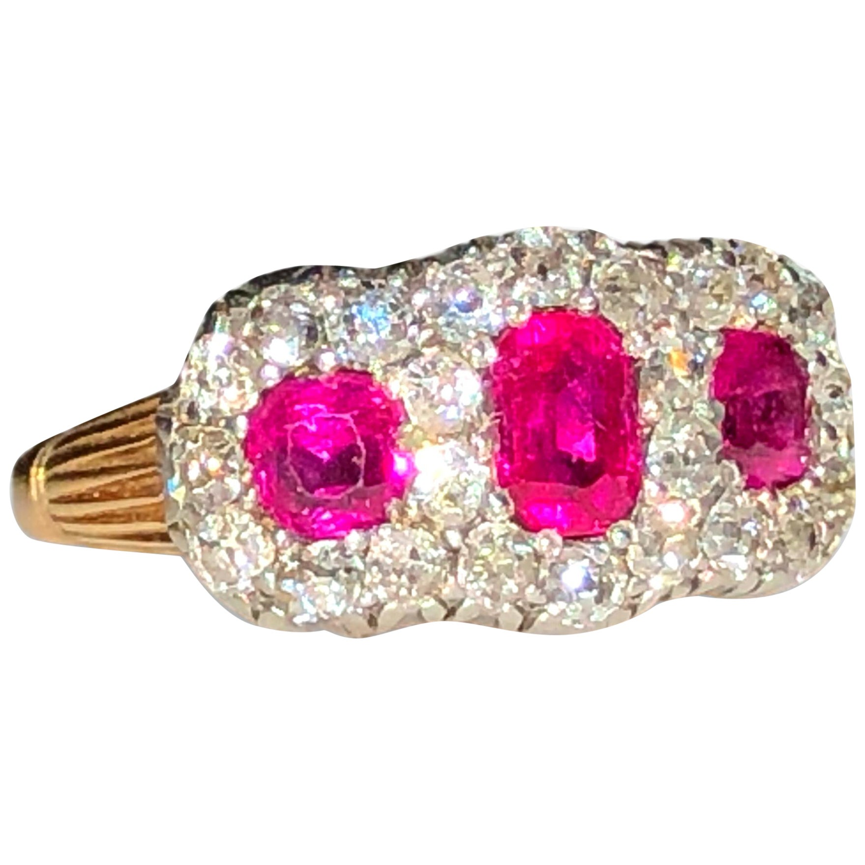 Very Fine Victorian Three-Stone Ruby Diamond Antique Ring