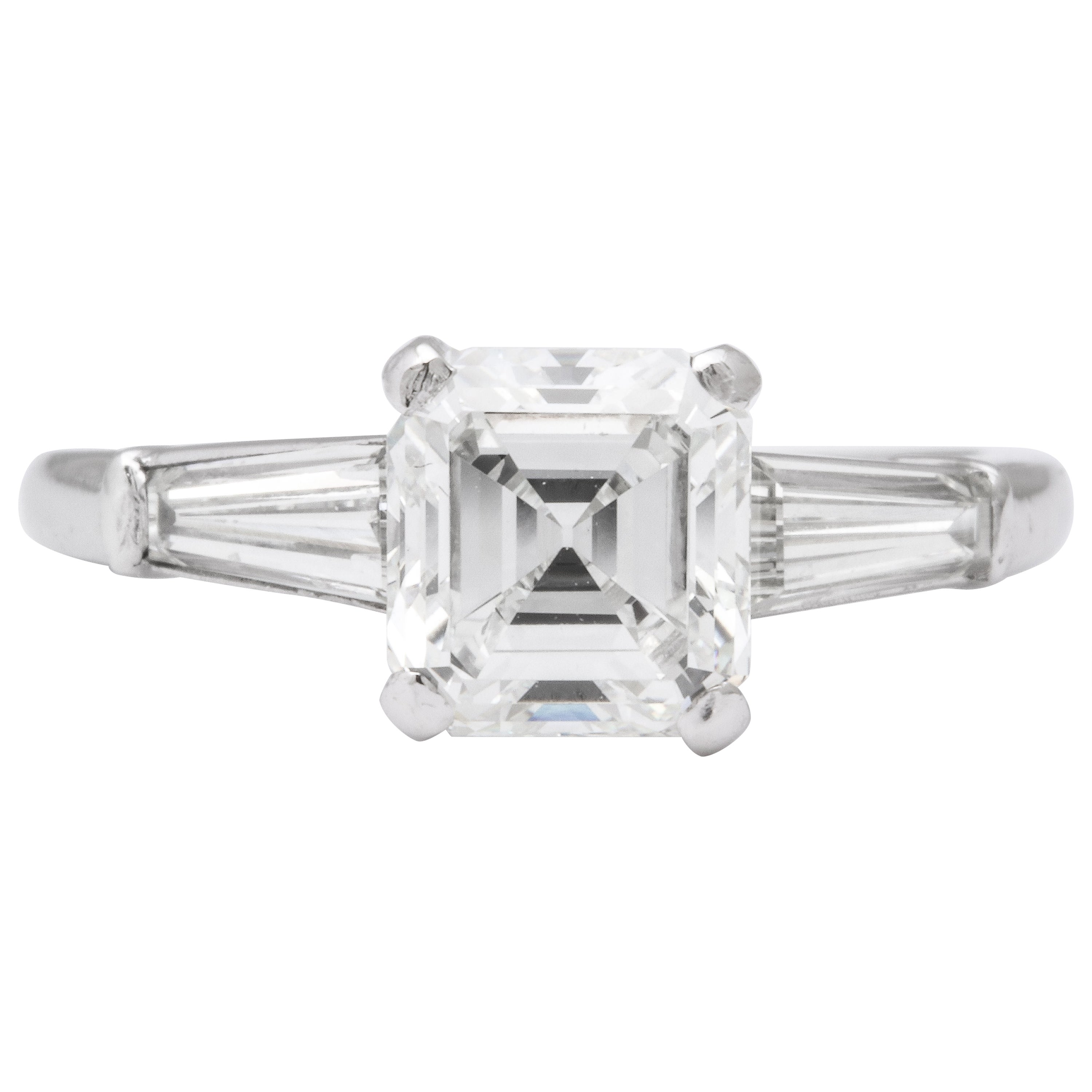 GIA Certified G VVS2 Square Emerald Cut Diamond Platinum Ring