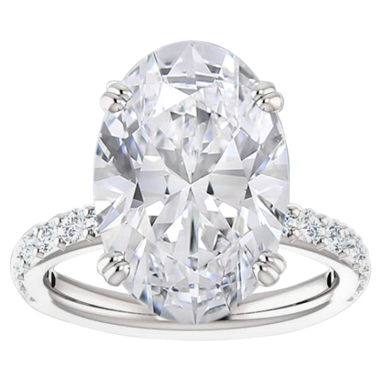 GIA Certified 8 Carat Oval Diamond Platinum Solitaire Engagement Ring