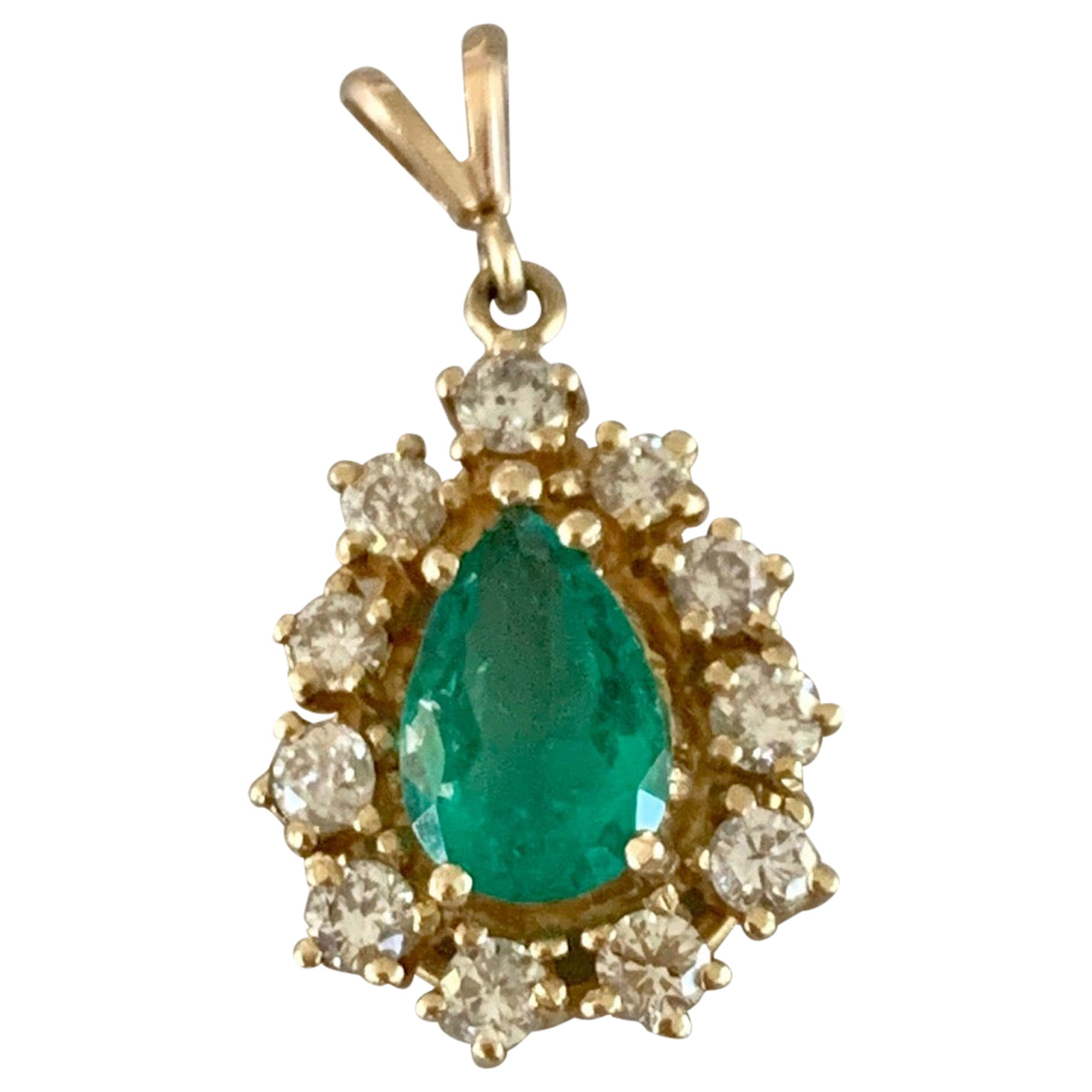 Vintage Pear Shaped Emerald and Diamond Halo 14 Karat Yellow Gold Pendant