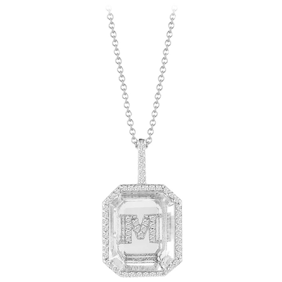 14 Karat Gold Diamond Frame Crystal Quartz Secret Diamond Initial Necklace