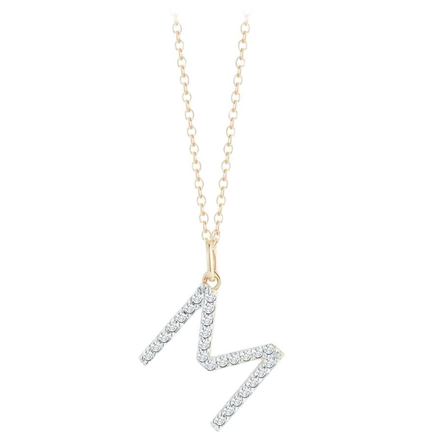 14 Karat Gold Diamond Initial Necklace