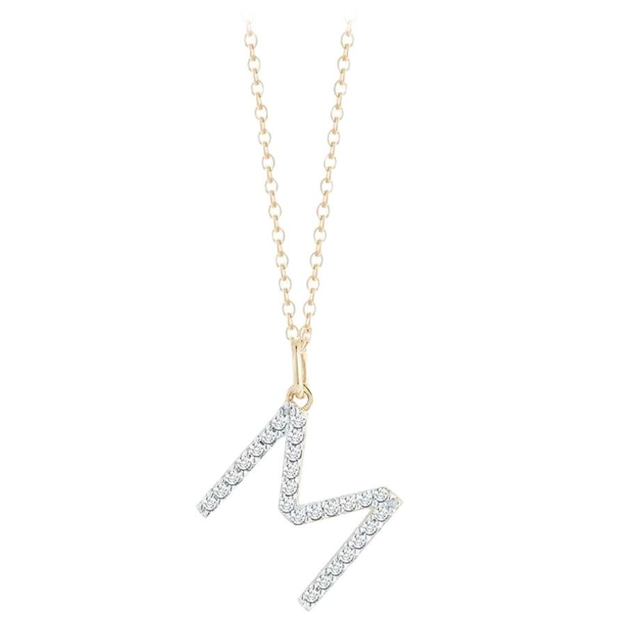 14 Karat Gold Diamond Initial Necklace