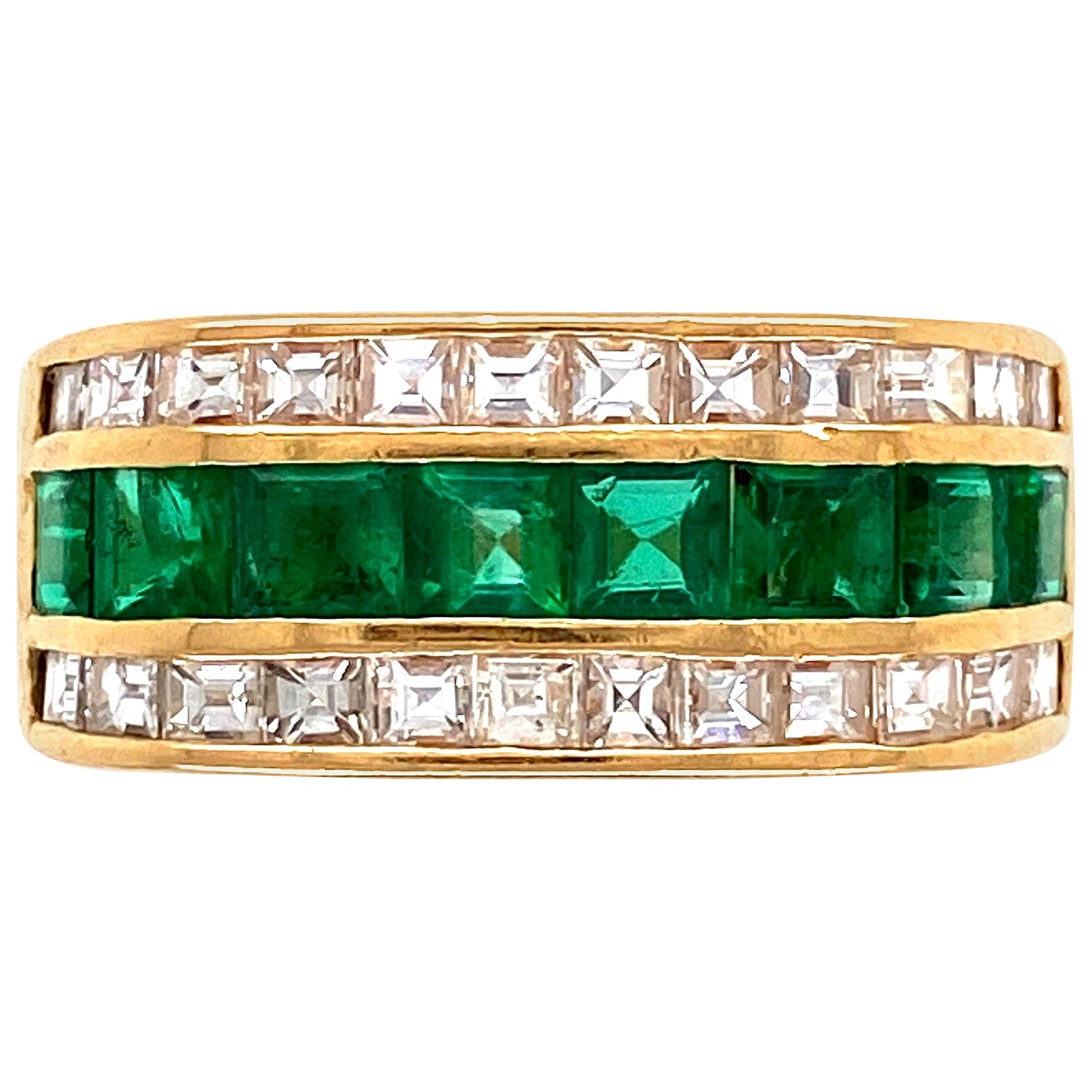 Muzo Emerald and Asscher Cut Diamond Gold Band Cocktail Ring Estate Fine Jewelry