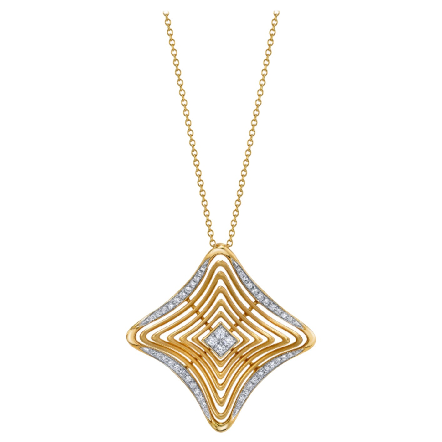 .37 ct. t.w. Diamond & 18k Yellow Gold Dreamcatcher Pendant Necklace with Chain