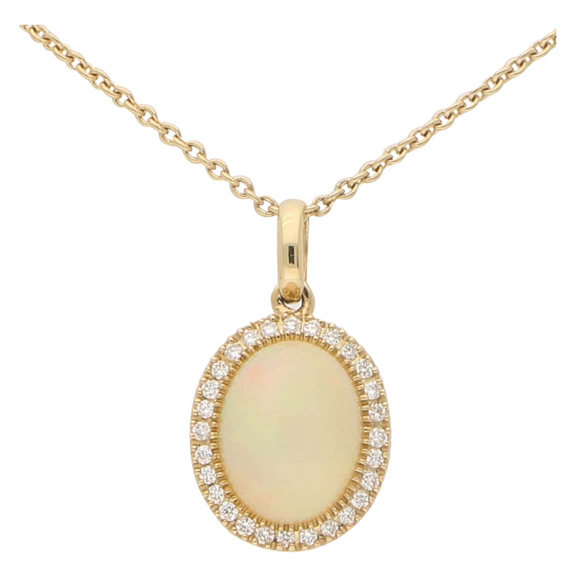 Opal and Diamond Cluster Halo Pendant Necklace Set in 18 Karat Yellow Gold