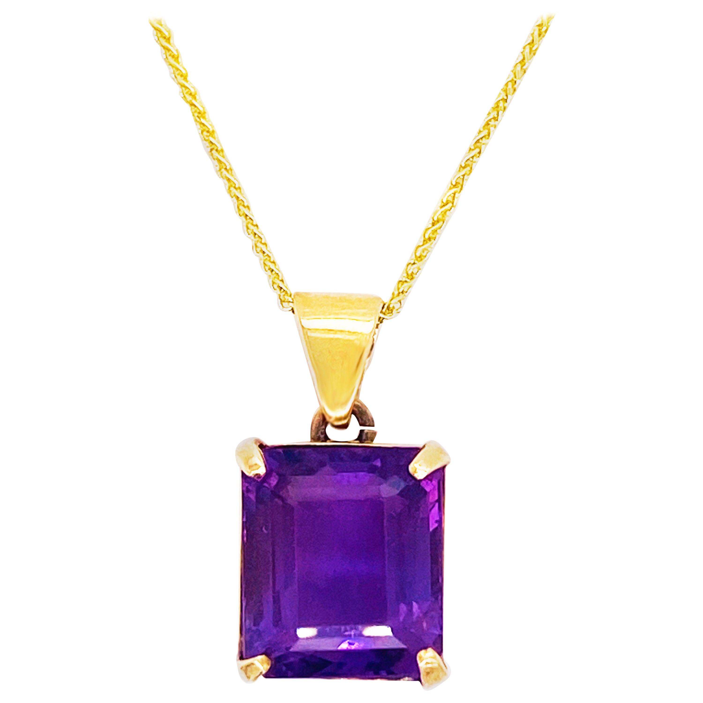 Amethyst Pendant Necklace, 18 Karat Gold Pendant, Emerald Cut, February