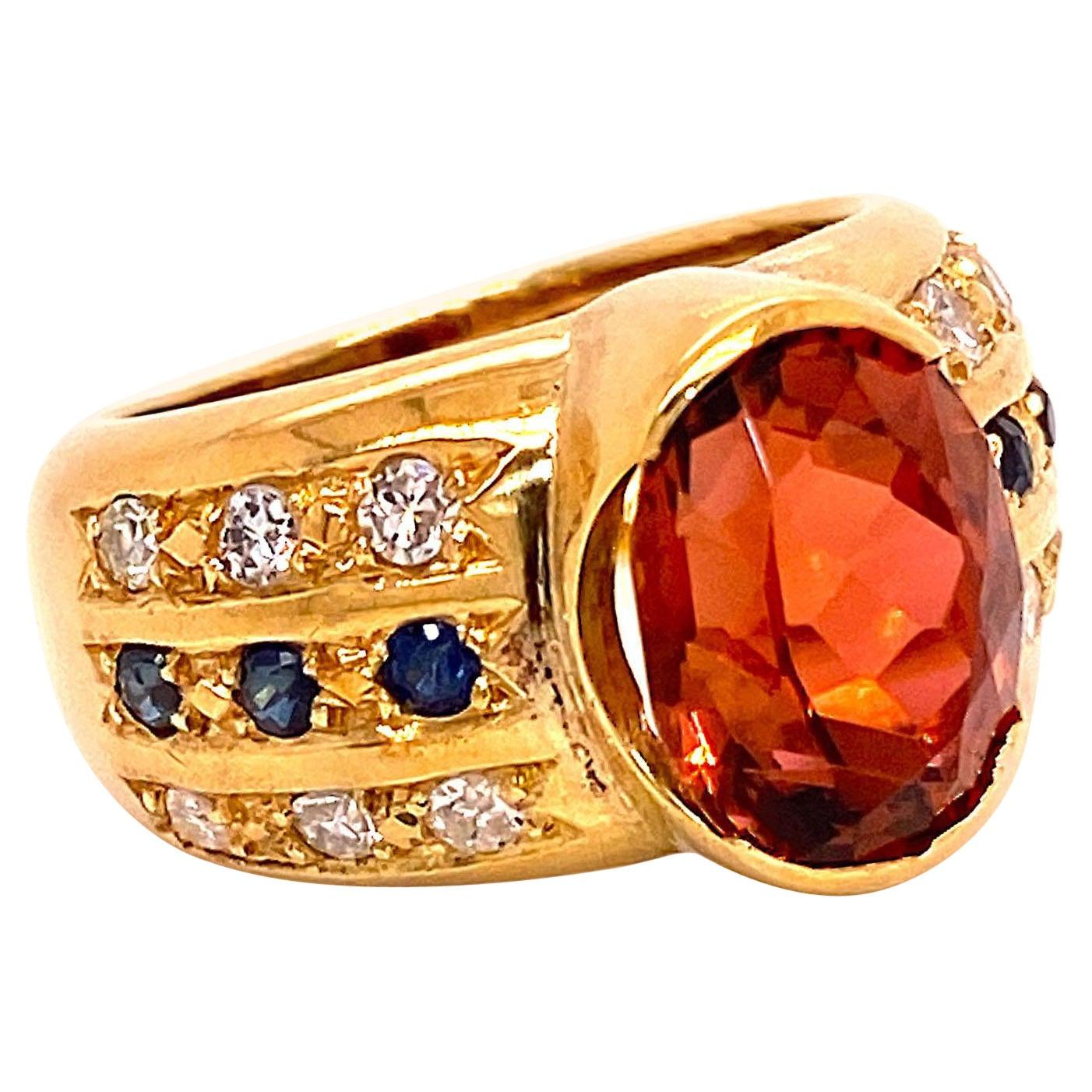 Golden Brown Tourmaline and 18 Karat Gold Ring