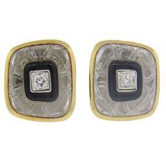 David Webb Carved Crystal Onyx Diamond Gold Platinum Earrings
